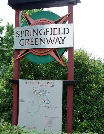 Springfield Greenway Trail Head and Map, J. Travis Price Park, near lake and picnic shelter