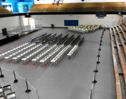 The Center, gym-auditorium event set-up example, main level